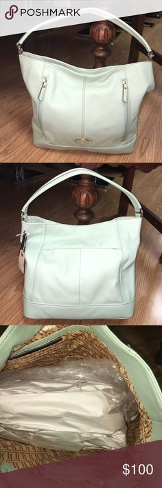 Tignanello qvc leather mint bag Retail $159. Mint leather color. Tignanello Bags