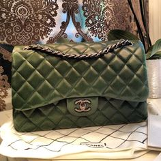 forest green chanel flap