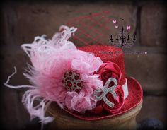 Valentines Day mini top hat headband or clip  by fancygirlbowtique, $22.00