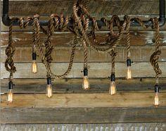 The Iron Nebula Chandelier - Industrial Rope Light - Metal Beam Pendant - Rustic Steel Ceiling lamp - Modern Accent Hanging Lighting