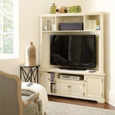 Corner Media Console - I like the height and storage option of this one, only would prefer it in white. Looks sorta off-white, but maybe it's my iPad. :)