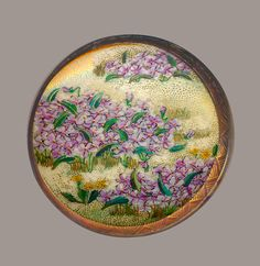 Image Copyright RC Larner ~ Large 19th C. Satsuma Pottery Pink Violets with Distinctive Red Gold Border  ~ R C Larner Buttons at eBay & Etsy        http://stores.ebay.com/RC-LARNER-BUTTONS and https://www.etsy.com/shop/rclarner
