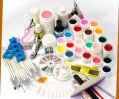 Uv Gel Kit with nail art, brushes, coloured gels, manicure etc from missliplash.net