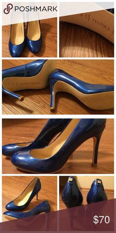Blue pumps heels EUC These are in excellent condition, please see photo of heel itself! Bright blue patent shoes with gold emblem on back of heel. Make a statement. Size 5. Leather sole. No box. 3.5 inches from base of foot (top of heel) to bottom of heel. Like new! Ivanka Trump Shoes Heels