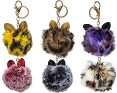 Fluffy High Fashion Faux Fur Cat Ear Pom Pom Keychain (6 pack)   Одежда, обувь и аксессуары, Аксессуары для женщин, Брелоки и средства для поиска ключей   eBay!