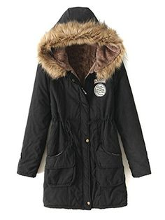 Clothink Women Clothink Women Black Faux Fur Hooded Zipper Pocket Patch Detail Parka Coat >>> Check this awesome product by going to the link at the image. (This is an affiliate link)