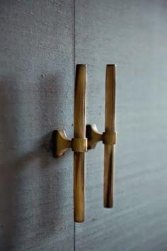 Horn & Brass Handles - Ochre I wouldn't like horn.wood handles with brass Knobs And Handles, Brass Handles, Knobs And Pulls, Drawer Handles, Drawer Pulls, Door Pulls, Wooden Handles, Joinery Details, Home Hardware