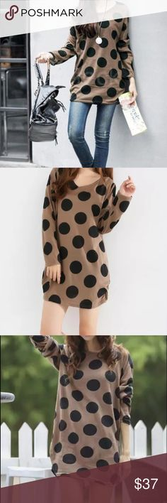 """Light knit Polka dot sweater Material: acrylic and polyester blended. Measurement: 38-39"""", length: 30-31. NWOT. One size Sweaters"""