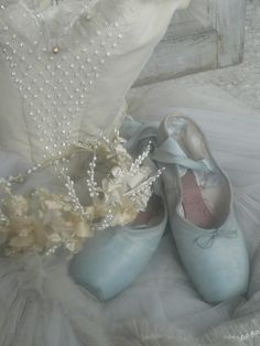 softly blue. ballet shoes.