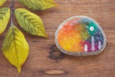 Galaxy Trees Painted Rock SMALL 2.5 by 2