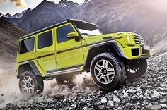Powered by a 410bhp twin-turbocharged 4.0-litre V8 petrol engine, the G 500 4x4² is a take on the G-class SUV.