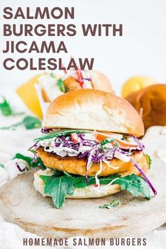 Fire up your griddles because these delicious salmon burgers are loaded up with a homemade jicama coleslaw and a dill dressing on toasted buns! Easy Paleo Dinner Recipes, Summer Recipes, Easy Meals, Healthy Salmon Burgers, Grilled Salmon, Salmon Recipes, Fish Recipes, Jicama Recipe, Salmon Patties Recipe