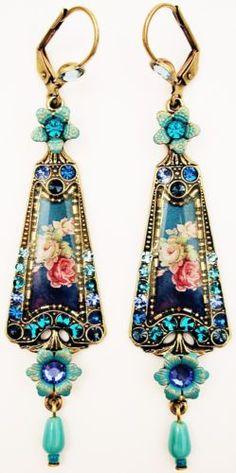 Michal-Negrin-Blue-Aqua-Turquoise-Tone-Roses-Cameo-Crystal-Earrings