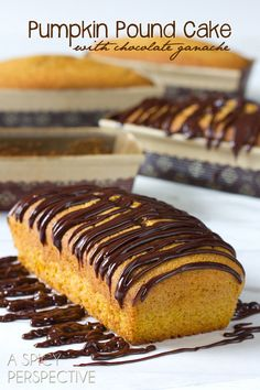 Pumpkin Pound Cake covered in chocolate! So delicious! :)