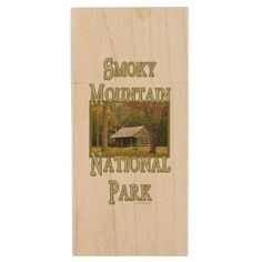 Smoky Mountain National Park Cabin Autumn Vert3 Wood Flash Drive