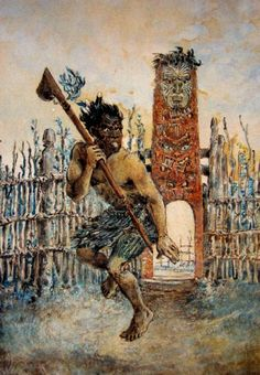 Māori Chief with Tewhatewha performing Peruperu before the Maketu Pa Gateway, Bay of Plenty by Horatio Gordon Robley Once Were Warriors, Polynesian People, Ages Of Man, Maori People, Heavy Water, Maori Designs, Maori Art, Kiwiana, Army Uniform