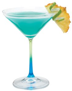 Tidal Wave |   1 ½ parts Malibu Coconut  ¾ parts Pineapple Juice  Splash of Hiram Walker Blue Curacao  Splash of Coconut Cream    Shake vigorously in a shaker and fine strain into a cocktail glass. Garnish with a piece of pineapple.