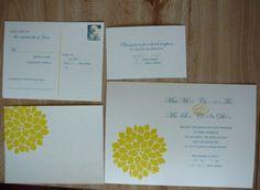 DIY Stamp Invitation :  wedding invitation rubber stamp yellow flower P1040814 2