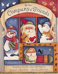In the company of friends - Ana Pintura 3 - Picasa Web Album Arte Country, Pintura Country, Country Crafts, Christmas Books, Primitive Christmas, Christmas Crafts, Xmas, Tole Decorative Paintings, Tole Painting Patterns