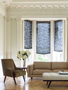 Relaxed Roman Shades In DwellStudiou0027s Cloudburst Material Look Right At  Home With Ornate Trim. Shown