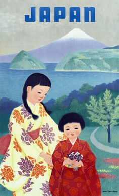 We love this cute vintage travel poster advertising japan as a new and beautiful destination. Its amazing to think this would have been the first image many people saw of Japan. Old Poster, Vintage Poster, Vintage Travel Posters, Vintage Postcards, Japanese Poster, Japanese Prints, Japanese Art, Japan Kultur, Monte Fuji