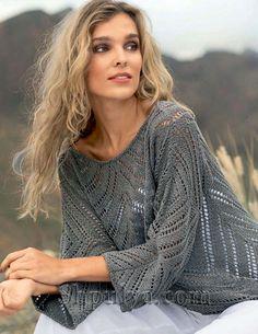 Серый вязаный пуловер с ажурными зубцами