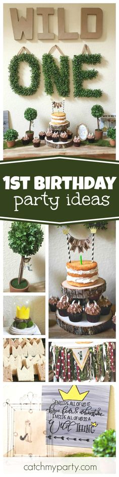 20 ideas baby first birthday boy party themes awesome Wild One Birthday Party, Boy First Birthday, Boy Birthday Parties, Birthday Ideas, Birthday Recipes, Party Themes For Boys, Woodland Party, 1st Birthdays, Thing 1