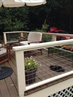 Deck Railing Ideas With Hog Wire . Wire Deck Railing Ideas deck railing ideas with hog wire Wire Deck Railing, Hog Wire Fence, Fence Gate, Porch Railings, Metal Deck, Railings For Decks, Horizontal Deck Railing, Wood Handrail, Modern Railing