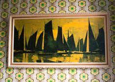 Vintage Retro 1960s BECCAFICHI Reverse Glass Painting of 2 ...