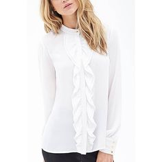 Yoins Yoins Ruffled Button Down Blouse ($14) ❤ liked on Polyvore featuring tops, blouses, shirts & tops, white, white blouse, ruffle front blouse, white button up shirt, button-down shirt and button up shirts