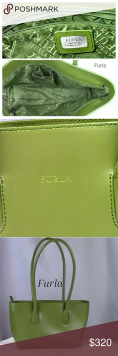Furla Tote Stylish Olive Green Furla Tote.  Gently used condition. Genuine Italian leather easy to tote for your convenience. Bags Totes