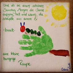 Handabdruck Raupe Nimmersatt; Ostern 2016