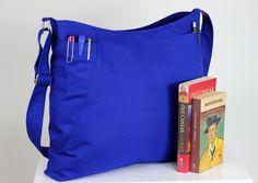 $39  Sax Blue, Hobo Bag, Two Big Pocket, Large Bag, Elegant ,Long Strap, Canvas, Shoulder bag, Crossbody bag, Accessories, Handmade, Gift Ideas by hippirhino