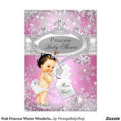 Pink Princess Winter Wonderland Baby Shower Brown 5x7 Paper Invitation Card