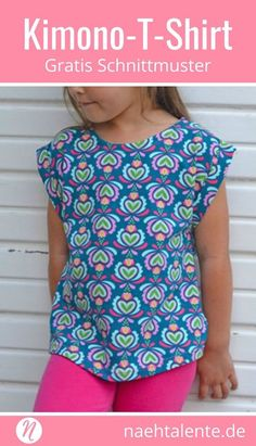 nähen Freebook Kimono T-Shirt for Girls ❤ Gr. 2 - 10 ❤ PDF for printing ❤ free sewing pattern with i Kimono Shirt, Sewing Patterns Free, Free Sewing, Free Pattern, Kimono Pattern Free, Sewing Projects For Beginners, Sewing Tutorials, Sewing Tips, Sewing Hacks