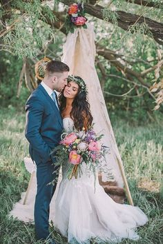 Bohemian Wedding Bouquet and Teepee / http://www.deerpearlflowers.com/vintage-bohemian-wedding-ideas/