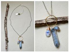 quartz, rutilated rainbow moonstone, labradorite necklace by -hush-