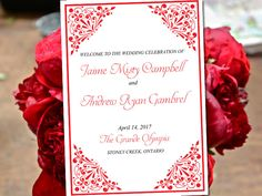 "Fold Over Wedding Program Template Download ""Madison"" Festive Red Program Order of Service Half Fold Program Printable by PaintTheDayDesigns on Etsy"