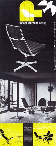 """Vintage Herman Miller product literature, for the Eames Aluminum Group, when it was first released, as """"The Indoor Outdoor Chair."""""""