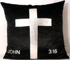 Christian Silver Cross /Faux Fur Beaver Pillow cover by Alethias, $42.00