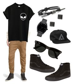 Tomboy by little-duck22-12160 on Polyvore featuring Vans, Rastaclat, Nixon, HUF, Ray-Ban, Publish, women's clothing, women's fashion, women and female