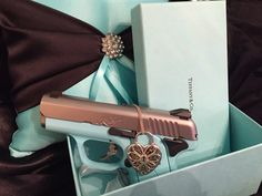 My husband always pulls through when he knows what I want!  A 9mm Kimber Solo Tiffany Blue = BLISS!