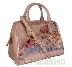 Michael Kors MK Signature Rose Gold Mirror Metallic Small Satchel Bag NWT