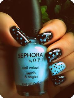 "Black and blue dots nail art ""My favorite, I love these two colors together"""