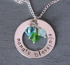 Personalized Necklace for Grandma, Nanas Necklace, Nanas Blessings, Grandma, Grandmothers Personalized Necklace, Christmas Gift, Birthstone
