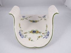 Ceramic Guest Towel Holder Off White Hand Painted Floral Design Embossed Edges #Unknown