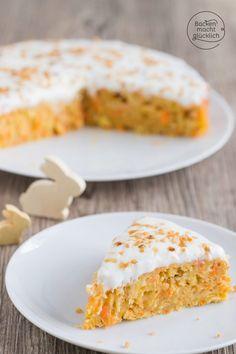 Juicy healthy carrot cake Baking makes you happy - Carrot cake low-calorie low-fat - Healthy Carrot Cakes, Healthy Sweets, Vegan Baking, Healthy Baking, Baby Food Recipes, Sweet Recipes, Backen Baby, Best Vanilla Cake Recipe, Best Birthday Cake Recipe