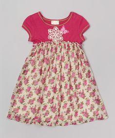 Look what I found on #zulily! Magenta Floral-Waist A-Line Dress - Toddler & Girls #zulilyfinds