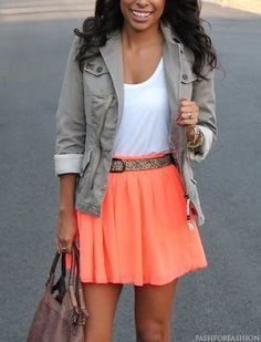 Perfect photoshoot outfit! Neutral tones with a pop of girly color. - AJH
