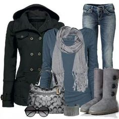 perfect outfit & grey uggs boots, by Outfits 2016, Mode Outfits, Fashion Outfits, Womens Fashion, Cheap Fashion, Fashion Fashion, Runway Fashion, Cute Winter Outfits, Fall Outfits